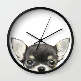 Chihuahua mix color Dog illustration original painting print Wall Clock