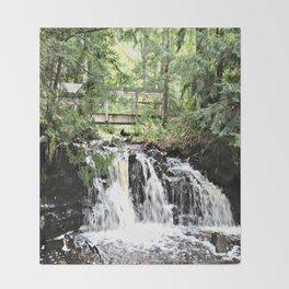 Bridge Over Waterfall Throw Blanket