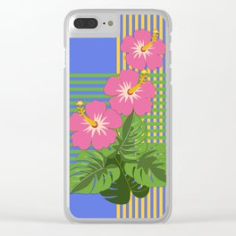 Monstera leaves and Hibiscus flowers on striped background Clear iPhone Case
