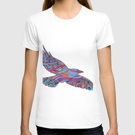 Hand-drawn crows with ethnic floral pattern. Coloring page - zendala T-shirt
