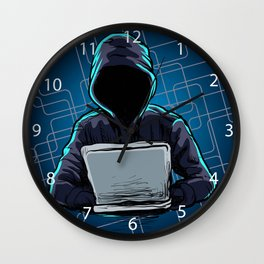 Computer hacker spread a net Wall Clock