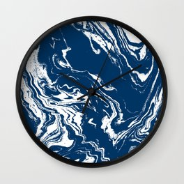 Tokai - spilled ink abstract painting watercolor marble marbled marbling japanese water wave Wall Clock