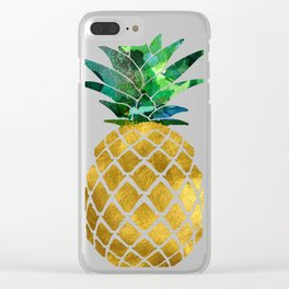 Gold Leaf Pineapple on Marble Background Clear iPhone Case