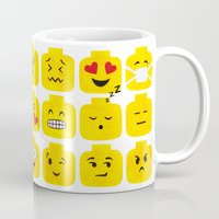 emoji Mugs featuring Emoji-Minifigure by Raddington Falls