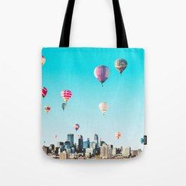Minneapolis, Minnesota Skyline with Hot Air Balloons Over the City Skyline Tote Bag