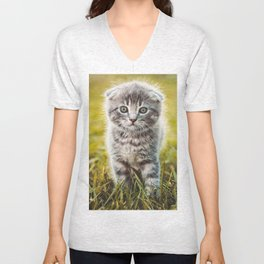 Small duckling playing with a little cat on green grass outdoors  Unisex V-Neck