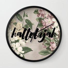 hallelujah vintage floral Wall Clock