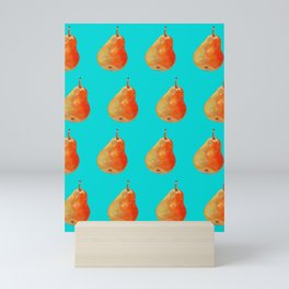 Ripe pear on color background drawing by pastel Mini Art Print
