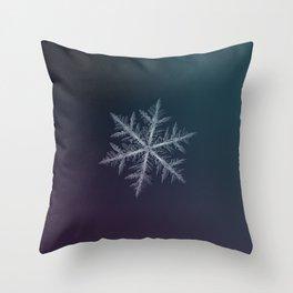 Real snowflake macro photo - Neon Throw Pillow