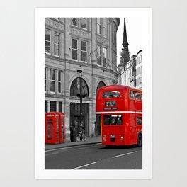 London Bus & Telephone Boxes. Art Print