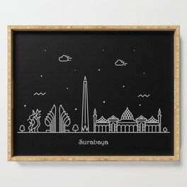 Surabaya Minimal Nightscape / Skyline Drawing Serving Tray