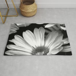 Black and White Daisy Square Rug