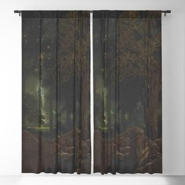 Early Dawn, The Fountain of Pirene forest landscape painting by Maxfield Parrish Blackout Curtain