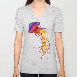 Jellyfish Red Unisex V-Neck