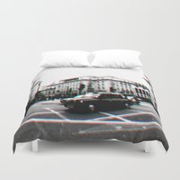 taxi driver Duvet Covers featuring Taxi by My own little world