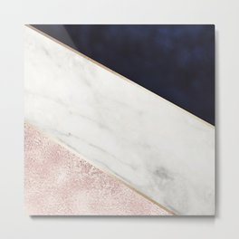 Rose Glitter, Gold, Marble And Navy Blue Abstract Art Metal Print