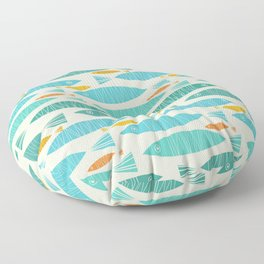 Shimmering Scandinavian Fish In Blue And Gold Pattern Floor Pillow