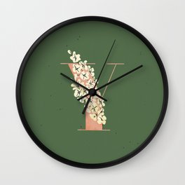 Y for Yellow-Eyed Grass Wall Clock