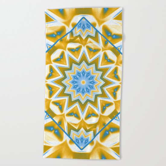 Wheel cover kaleidoscope in blue and gold Beach Towel