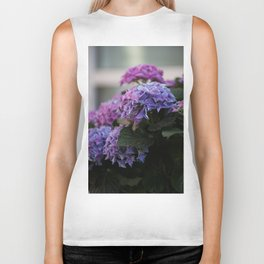 Big Hortensia flowers in front of a window Biker Tank