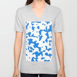Large Spots - White and Dodger Blue Unisex V-Neck