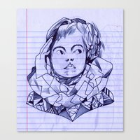notebook Canvas Prints featuring notebook girl by Jordan Piantedosi