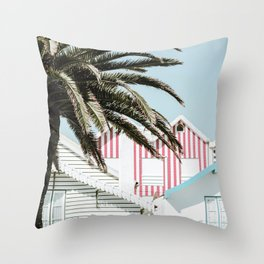 Candy Striped Houses Throw Pillow