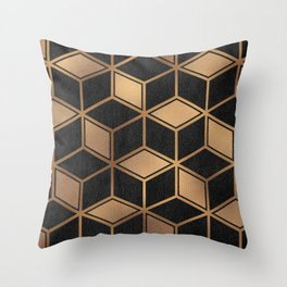 Charcoal and Gold - Geometric Textured Cube Design II Throw Pillow
