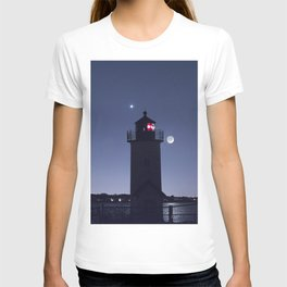 Moon Venus and the Annisquam Lighthouse T-shirt