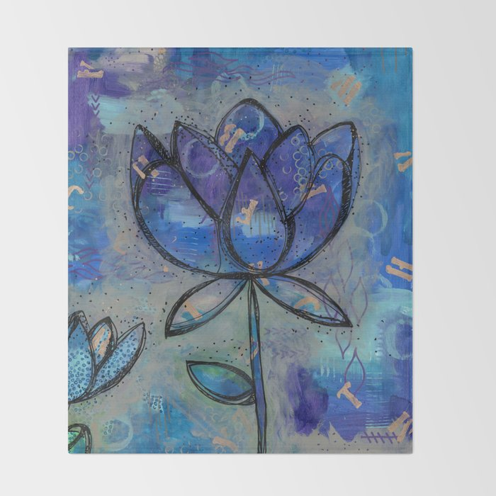 Abstract Lotus Flower Intuitive Throw Blanket