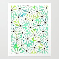 daisies Art Prints featuring Daisies by messy bed studio