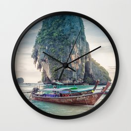 Boat in the sea Wall Clock