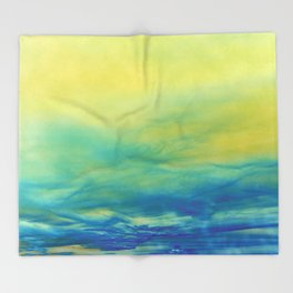 YELLOW & BLUE TOUCHING #1 #abstract #art #society6 Throw Blanket