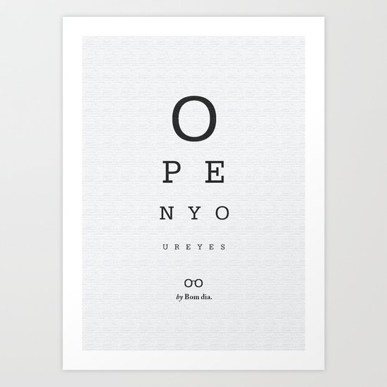 Open your eyes - Typographic Art Print