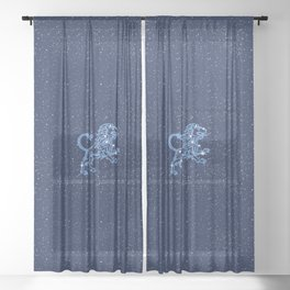 Leo Constellation and Zodiac Sign with Stars Sheer Curtain
