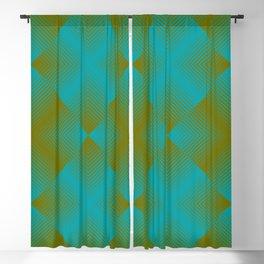 gradient squares pattern aqua olive Blackout Curtain