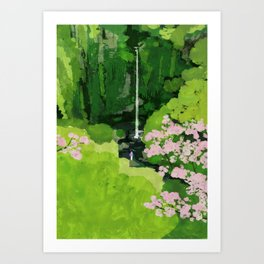 The Urami fall and cherry blossoms Art Print