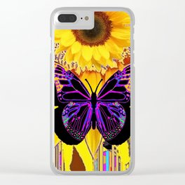 BLACK BUTTERFLY ON YELLOW SUNFLOWER ABSTRACT Clear iPhone Case