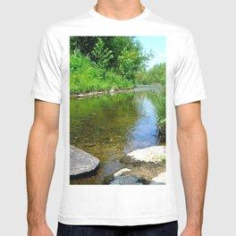 lake river grass stones summer T-shirt