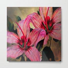 Vintage Painted Pink Lily Metal Print