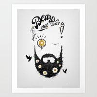 Make Beards not War (typo edition) Art Print