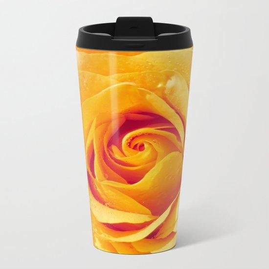 Gold Rose Bud- Yellow Roses and flowers Metal Travel Mug