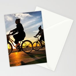 Cycling on sunset in Santa Monica, California, USA Stationery Cards