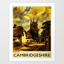 retro Cambridgeshire travel poster Art Print