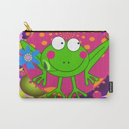 Flower Frog in a Funky Heart Carry-All Pouch