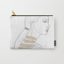 In Cream Lines Carry-All Pouch
