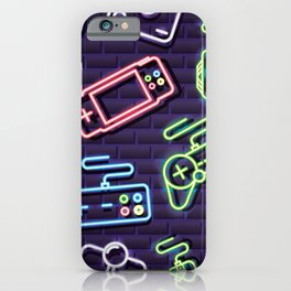 Neon Video Game Accessories Pattern iPhone Case