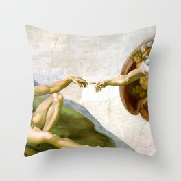 The Creation of Adam Painting by Michelangelo Sistine Chapel Throw Pillow