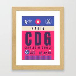 Retro Airline Luggage Tag - CDG Paris Charles de Gaulle Framed Art Print