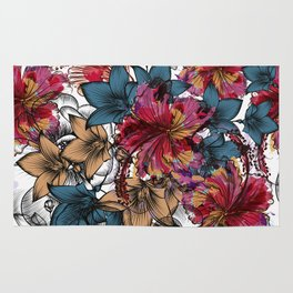 Tropical pattern with hibiscus flowers. Hawaii style watercolor Rug